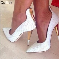 High Quality Sexy Pointed Toe White Women Pumps Gold Metal Heel Formal Dress Shoe Back Zip Spring Autumn Slip On Shallow Pump