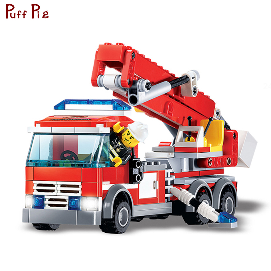 City Series Building Blocks DIY Fire Fighting Truck Bricks Sets Compatible Legoed City Educational Toys For Children Friends
