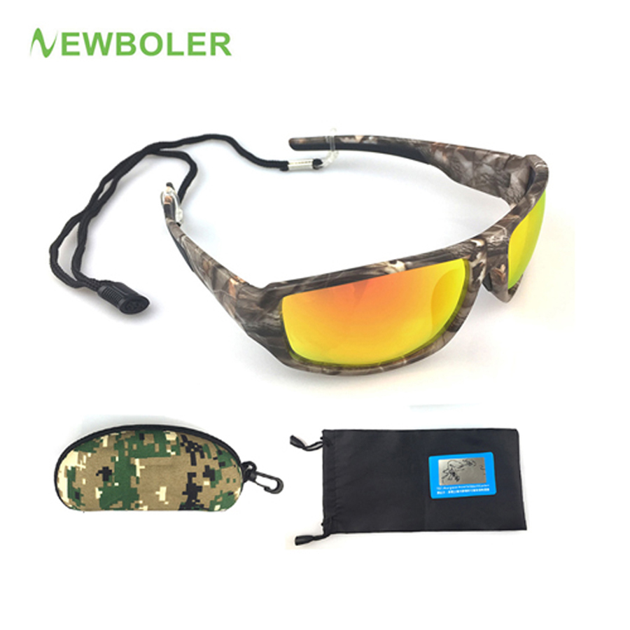 NEWBOLER Outdoor Sports Hiking Eyewear Polarized UV400 Camouflage Men Women Sunglasses Fishing Driving Sun Glasses fashion rectangle frame gun metal leg outdoor driving sunglasses for men