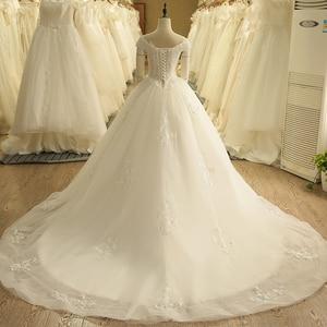 Image 2 - Robe de mariée Vintage, épaules dénudées, avec application, robe de bal, SL 9012, à lacets