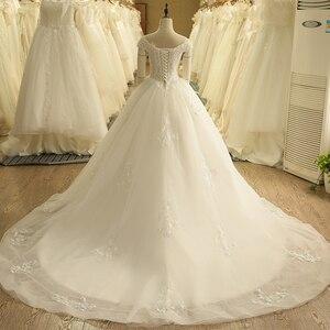 Image 2 - SL 9012 Vintage Off the Shoulder Wedding Dress Lace Up Back Applique Bridal Ball Gowns 2018