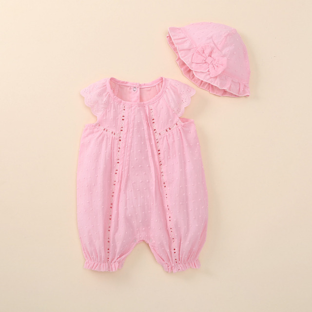 d3d66541ea852 infant newborn baby girl clothes summer 2018 baby girl rompers+hat floral  cotton lace overalls baby girl clothing sets 0-3months