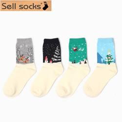 Зимние новые хлопковые мужские и женские носки для влюбленных Рождество подарок на новый год Санта снег олень Лось стиль