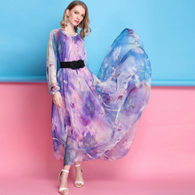 2019 Vibrant Floral chiffon Long Sleeve maxi dress bohemia dress full plus size  Dress Beach Sundress все цены