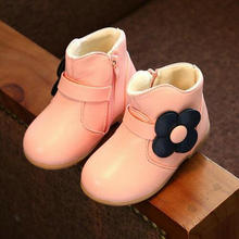 Winter Baby Girl Boots Fashion Princess Shoes Warm Cotton Leather Ankle Boot With Flower Children Plush Cute Snow Boots Kids hot sale 1pair brand baby cold winter warm snow kids fashion boot exported europe russia brand girl cotton padded boots
