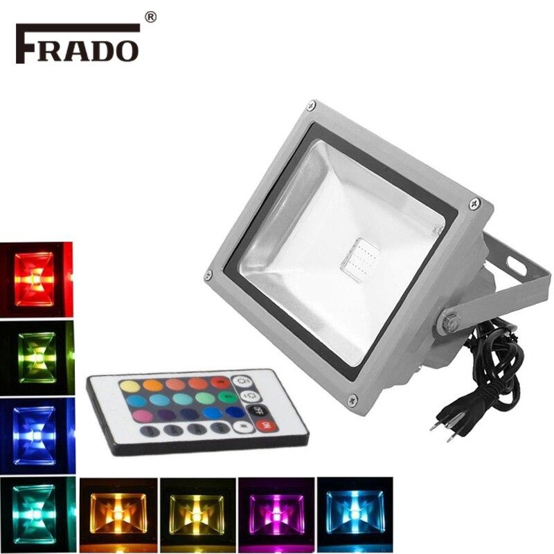 Rgb led luzes de inundação 10 w led exterior holofotes ip65 ao ar livre luz refletor ponto projector controle remoto ue/au/uk plug lâmpadas