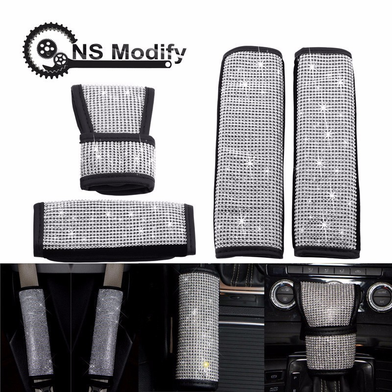 NS Modify Car Styling Crystal Full Diamonds Auto Handbrake Cover Seat Belt Gear Shift Knob Cover Car Interior Accessories