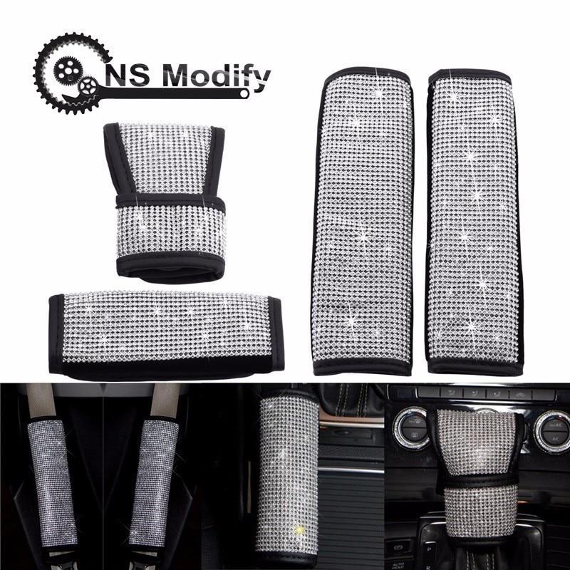 NS Modify Car Styling Crystal Full Diamonds Auto Handbrake Cover Seat Belt Gear Shift Knob Cover Car Interior Accessories