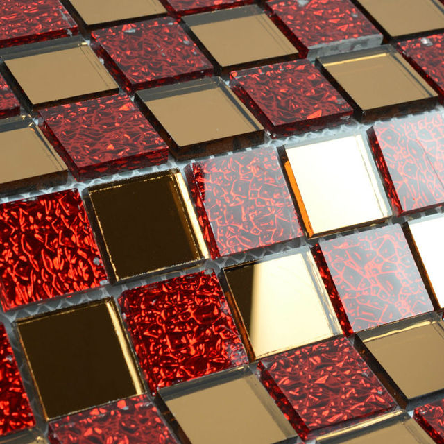 Mirror Tile Backsplash Kitchen Red Gl Mosaic Clear Crystal Mosaics Mirrored Wall Stickers