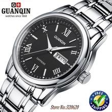 Gros Hommes montres à quartz marque de luxe GUANQIN Lumineux étanche saphir Robe montres en acier montres hommes marque montre