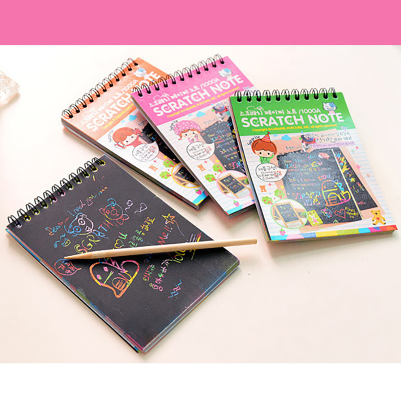 Scratchbook Scratch Stickers Note Book Drawing Toys Stationery Gift For Children Cardboard Creative DIY Draw Random Send Color