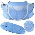 2016 Nuevo Azul de Bebé Infant Bed Canopy Mosquitera Algodón acolchado Colchón Pillow Carpa Plegable Portable del envío libre