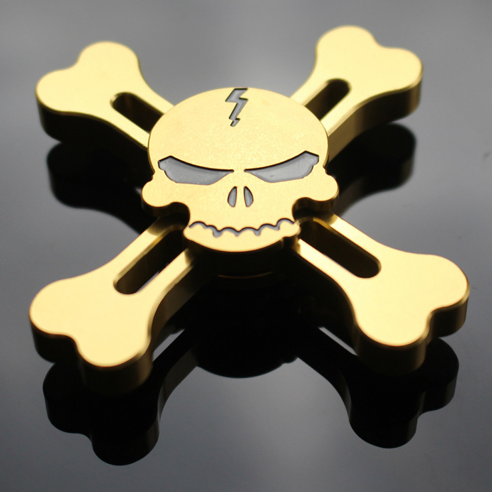 Gold Skull EDC Fidget Hand Spinner Torqbar Focus Autism Finger Toy Gyro Accept Drop Shopping