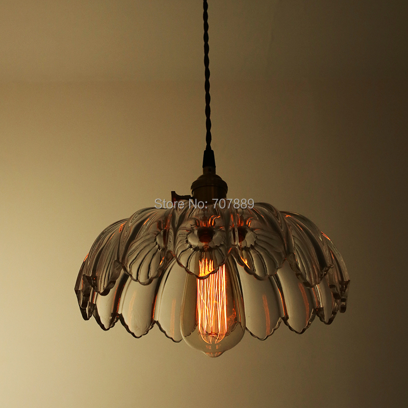 Retro Glass Lampshade Pendant Lights Vintage Lotus Hanging Lamp Dining Room Lighting Fixture Edison bulb E27 Free shipping PV012