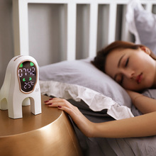Smart music led alarm clock with electronic thermometer, bedside bedroom smart student desk