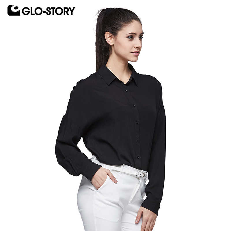GLO-STORY Women's Office Long Sleeve Shirt Women 2018 Loose Casual Streetwear Button Down Blouse Tops WCS-6190