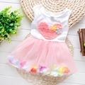 2016  fashion summer sleeveless leaf flora heart baby babi girl dress children tutu pricess party dress S1649
