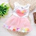 2016 moda verão sem mangas folha flora babi do coração do bebê vestido da menina crianças tutu vestido de festa pricess S1649