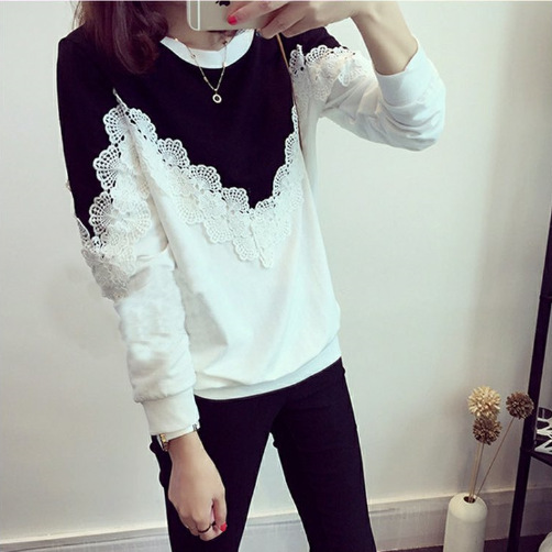 lace woman t-shirt plus size Korean style lace patchwork o-neck long sleeve causal slim bottoming female t-shirt Tees 3