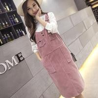 2018 Korean Preppy Style Corduroy Dress Women Autumn Winter Strap Pockets Long Dress Plus Size Casual Vintage Dress Vestidos