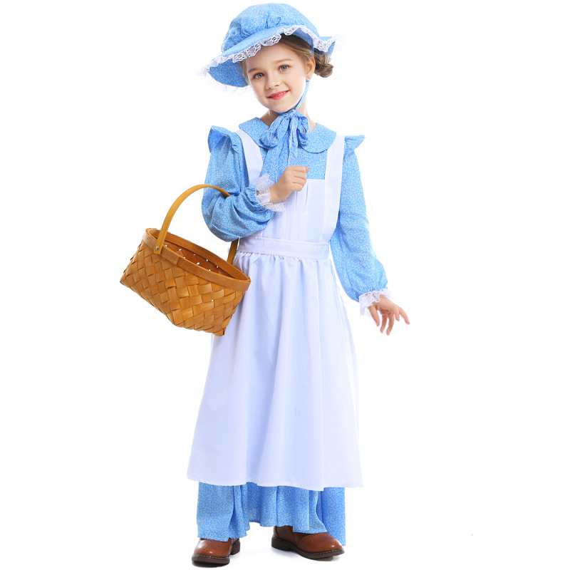 Blue&White alice in wonderland Maid costume for kids Children's Day Stage Performance costume Girls Farm cospay halloween dress