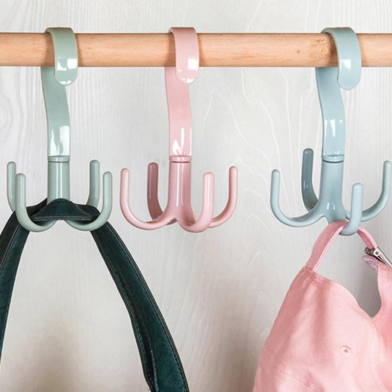 Вращающиеся крючки на 360 градусов, пластиковая вешалка для полотенец, держатель для галстуков, полка, вешалка для хранения, органайзер, крючок для шарфов