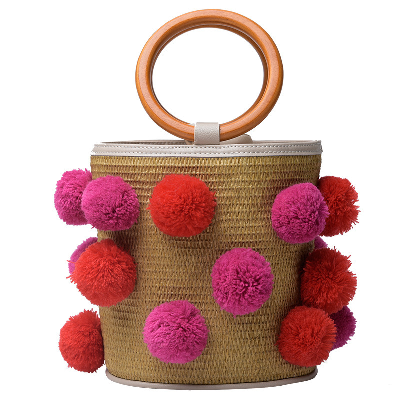 где купить New Pattern Straw Pompom cloth Plaited Bucket Type Bohemia Style Handbag beach bag bolsa feminina по лучшей цене