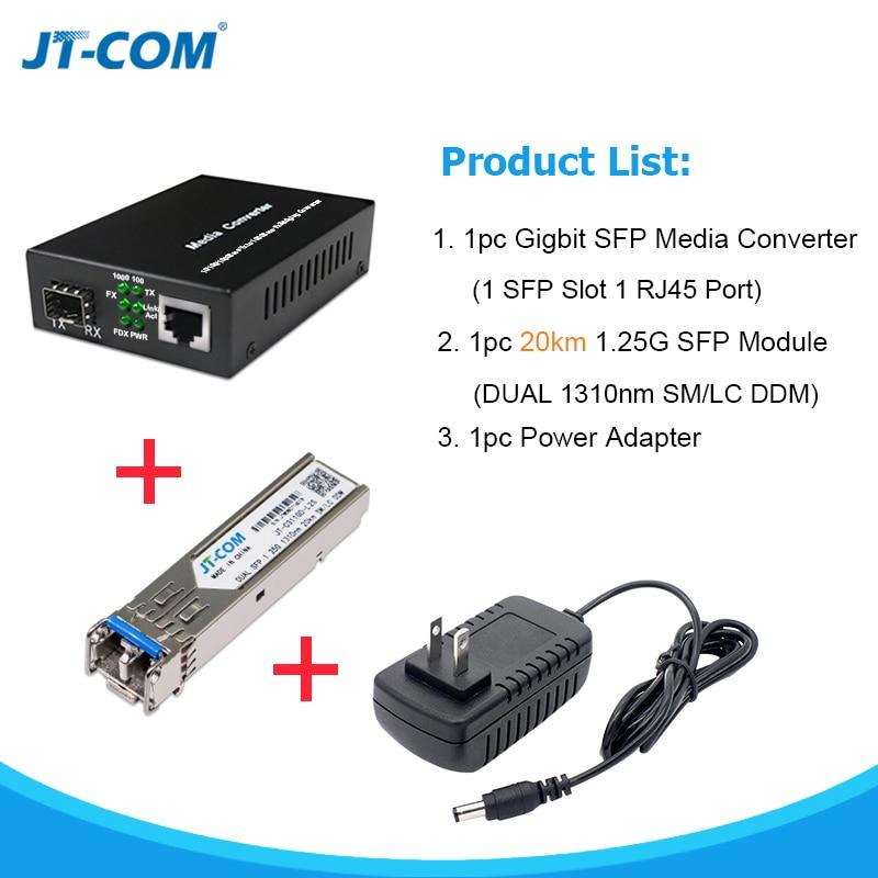 1000M SFP RJ45 Gigabit Media Converter Fiber Optic with 1G Single Mode Duplex Transceiver Module 20km fibra optica LC Connector