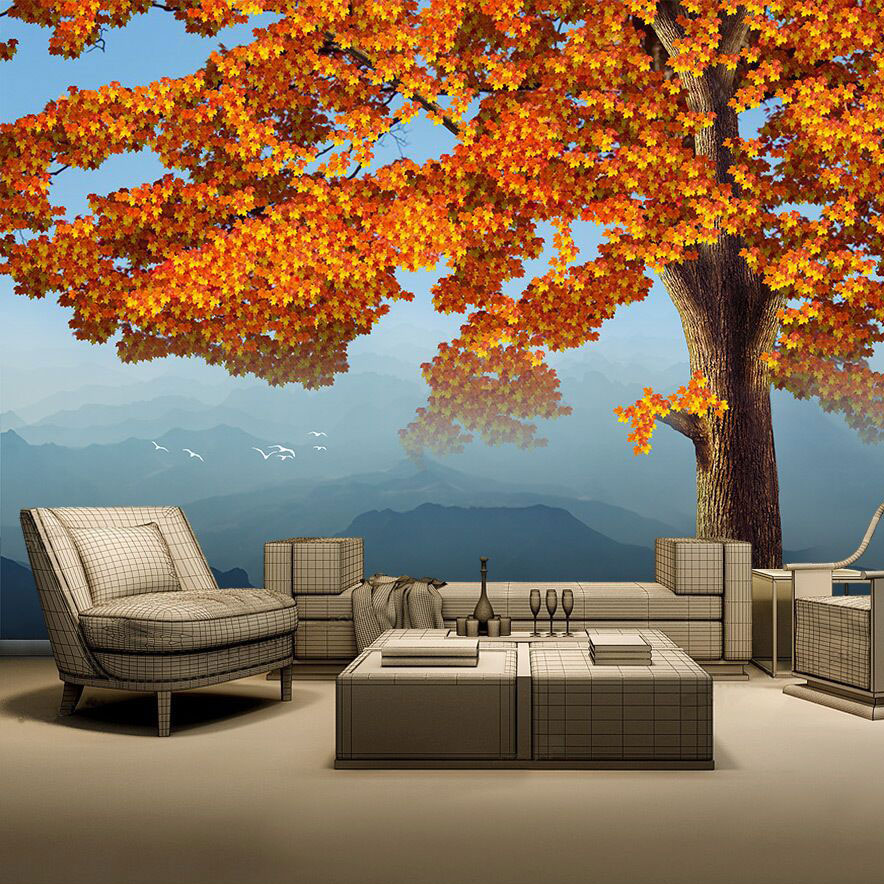 8D Mural Mapel Leaf Tree Mountain 3d Nature Wallpaper