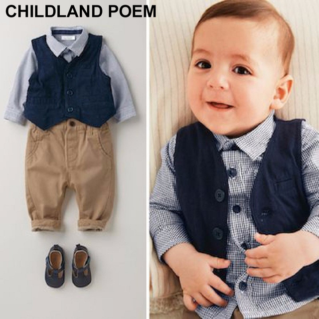 Baby Boys Clothing Set 1 Year Birthday Clothes Kids Infant Gentleman Boy Wedding Formal Suit Children Vest 3pcs