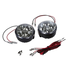 2pcs Universal 12V White 4 LED Round Daytime Running Light DRL Car Fog Day Driving Lamp цена
