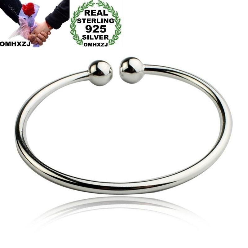 OMHXZJ Wholesale Personality Fashion OL Woman Girl Gift Silver Simple Blank Open 925 Sterling Cuff Bangle Bracelet BR163