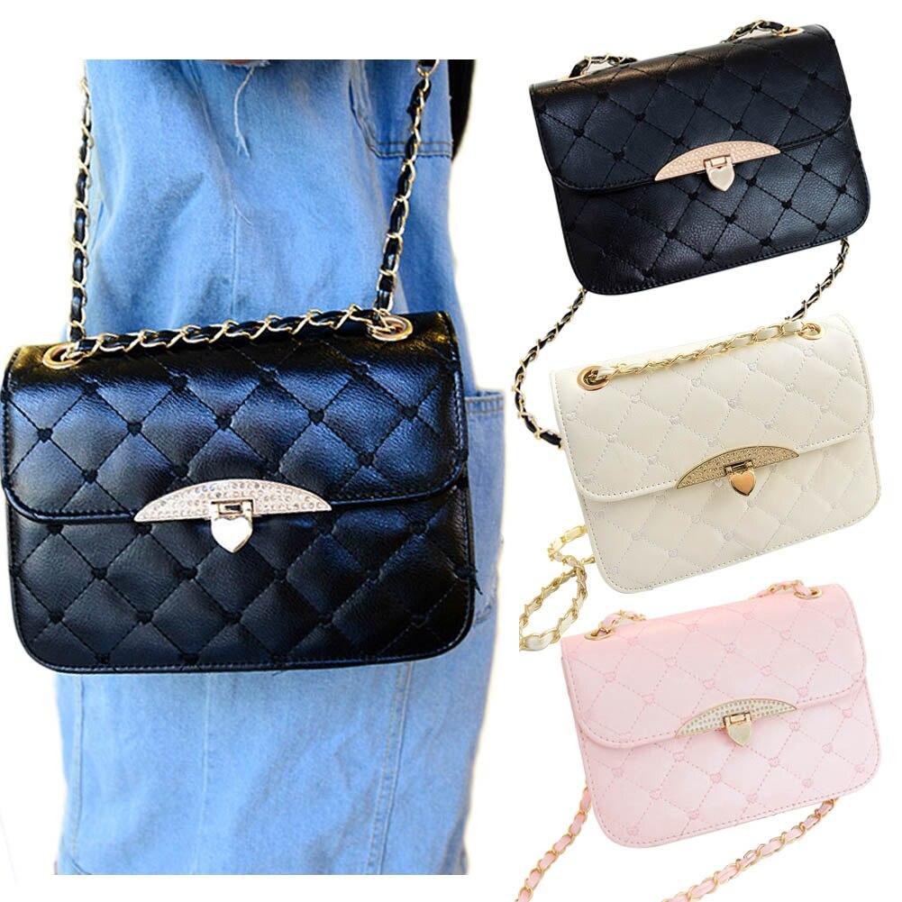 Новые женские Модные PU кожа Сумка Сладкий Портфели сумки цепь сумка черного, розового и белого цвета