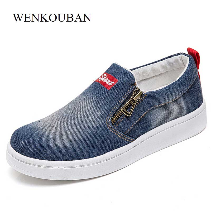 Fashion Denim Shoes Women Canvas Sneakers Slip On Flat