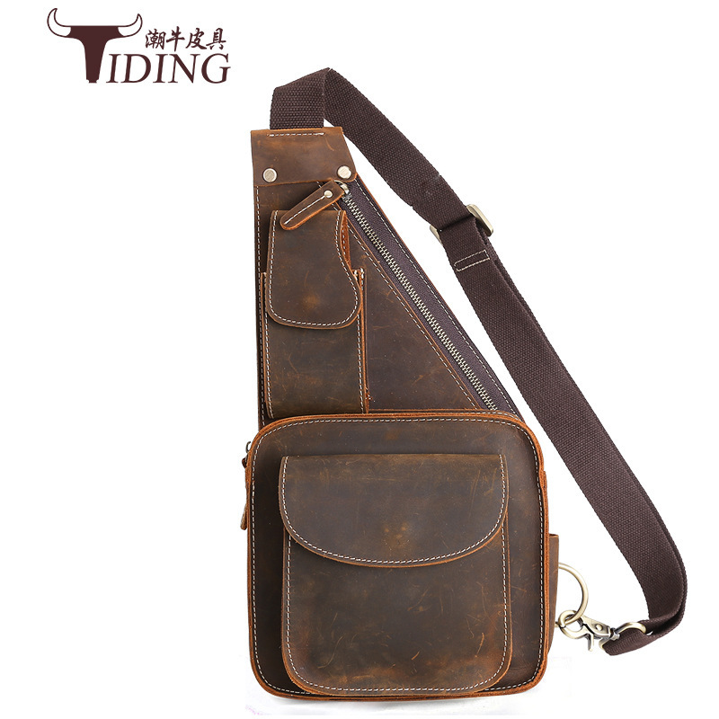 tiding crazy horse leather one shoulder pack cross body travel bag for men women 3141 TIDING Genuine Crazy Horse Leather Men Sling Bag Vintage Chest Purse Shoulder Bag Travel Cow Leather Crossbody Bag 2016 New