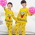 2015 Nuevo 2 unids/set Kids Pijamas ropa de Dormir Ropa para Muchacha del muchacho de Manga Larga Pijamas Set Para Niños 3-13y Envío gratis