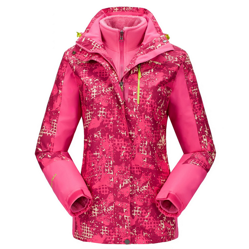 ФОТО Rain Waterproof Camping Camouflage Couples Two-Piece Ski Jacket Women Hiking Jacket Fleece Ski Wear Winter Outdoor Jacket
