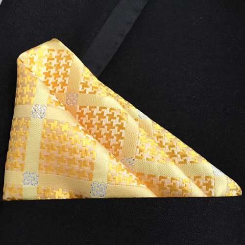 Wedding Pocket Square Yellow With White Plaids Diamonds Men Handkerchief To Match Tie