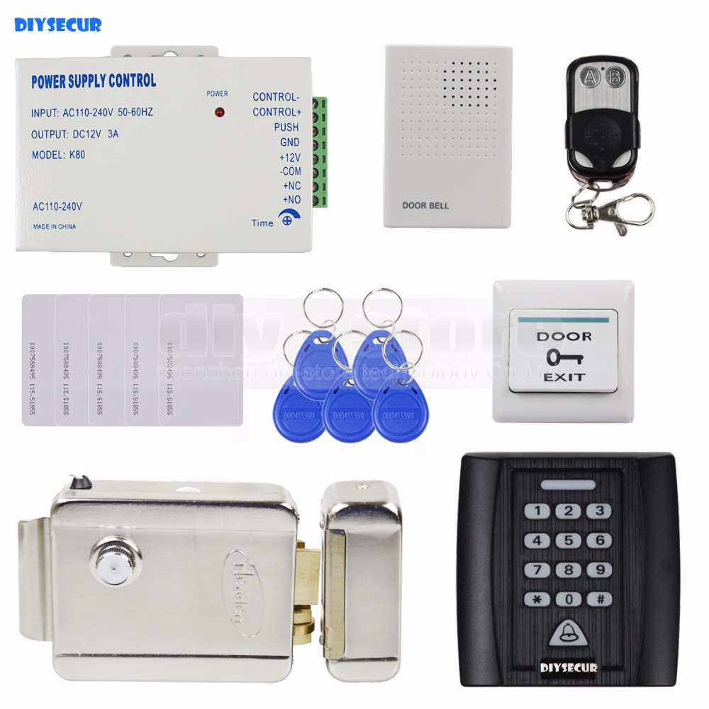 DIYSECUR Remote Control Door Bell Electric Lock 125KHz RFID Reader Password Keypad Access Control System Security Kit diysecur electric lock waterproof 125khz rfid reader password keypad door access control security system door lock kit w4