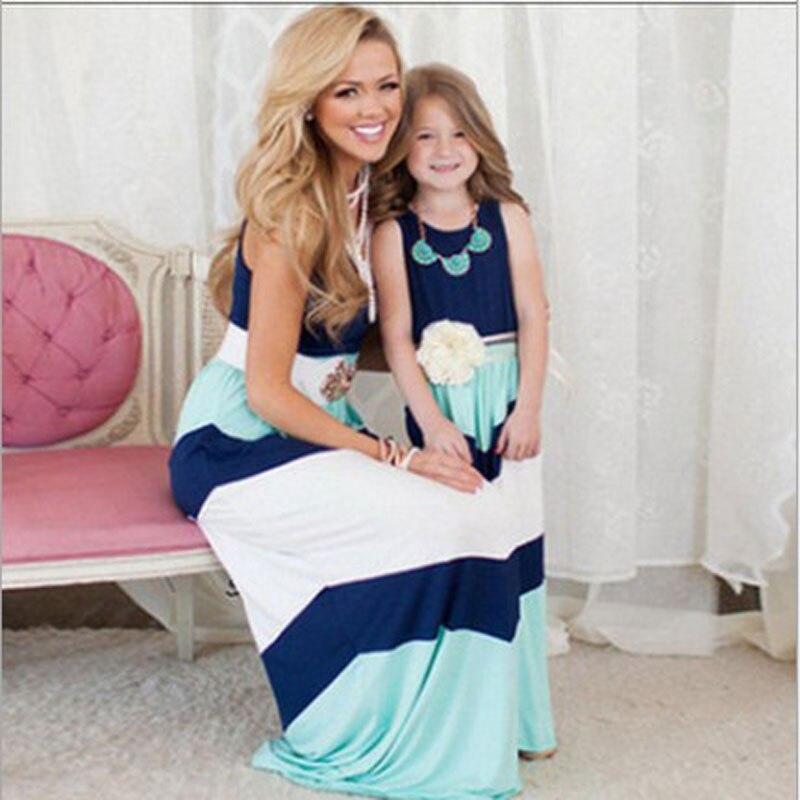 ailе кролик/летняя одинаковая одежда для всей семьи платья для мамы и дочки контрастность синий платье трапециевидной формы мамам и детям одежда К1