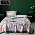 100% Lyocell Tencel 650 Thread Count Fabric Quilt Morning Glory Print Thin Comforter Queen King Size Bedspread Double Bed Cover