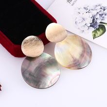 HOCOLE Fashion Gold Shell Stud Earrings For Women Vintage Geometric Round shell Wedding Jewelry 2019
