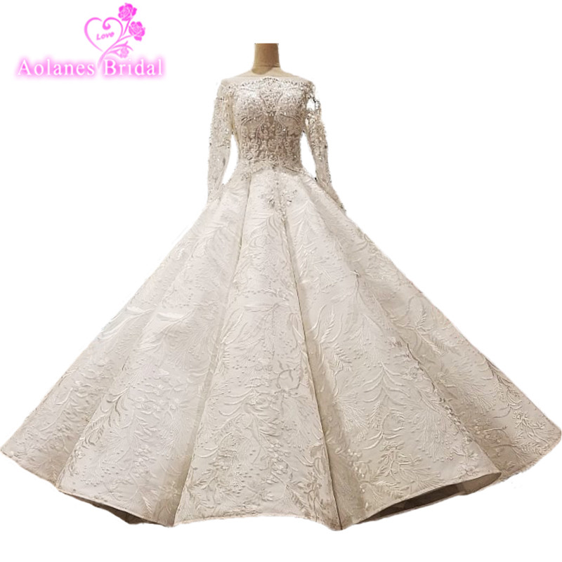 2018 Ivory Champagne Lace Long Sleeves Bridal Gowns Floor