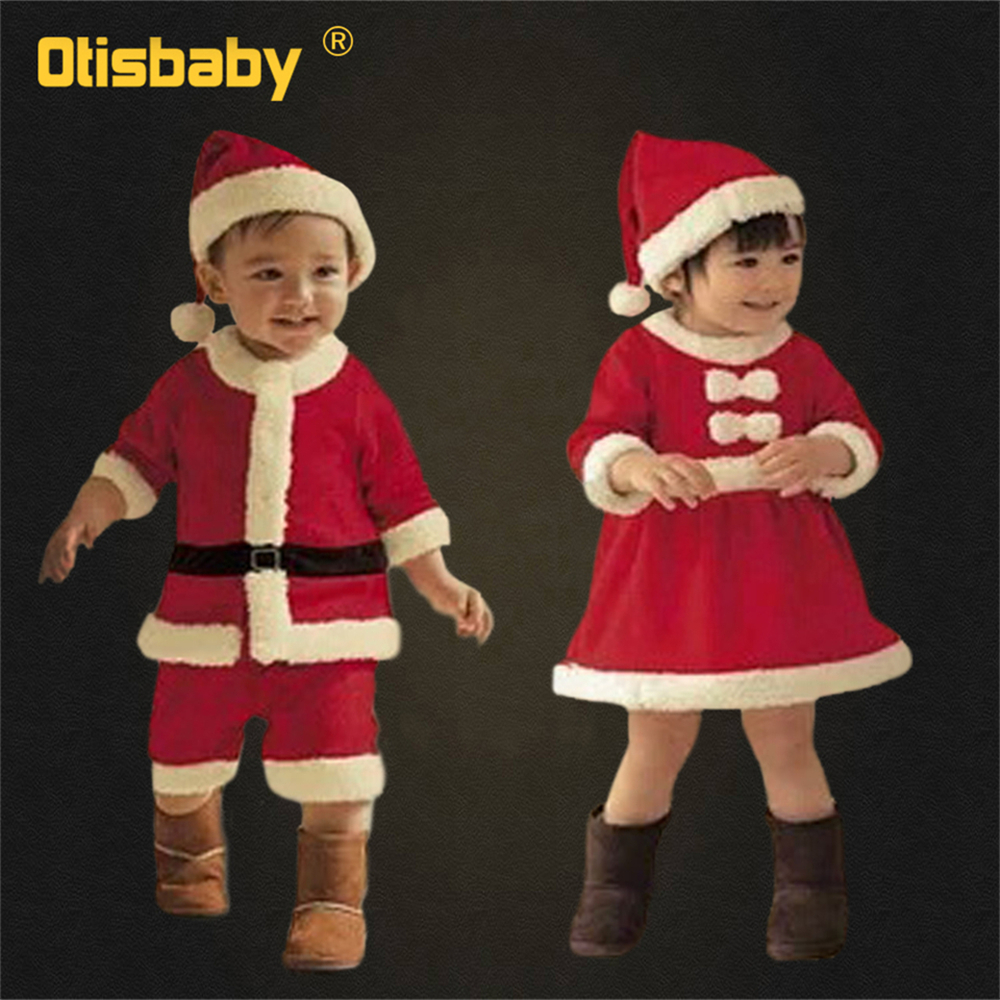 0-12T New Year Kids Santa Claus Cosplay Costume Carnival Party Christmas Girls Red Dress Baby Boys Xmas Clothing Set Halloween
