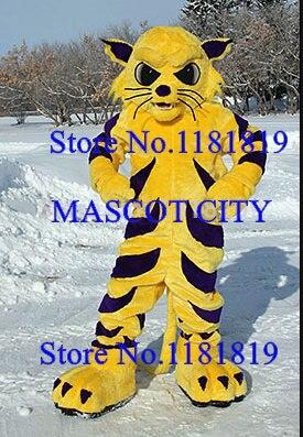Mascotte adulte grand jaune mascotte chat sauvage tigre bobcat costume personnage de dessin animé cosplay costumes fursuit