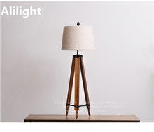 Modern Pine Bracket Fabric Shade E27 Floor Lamp Wood Floor Light Standing Lamp for Dining Living Room Study Room Fixtures