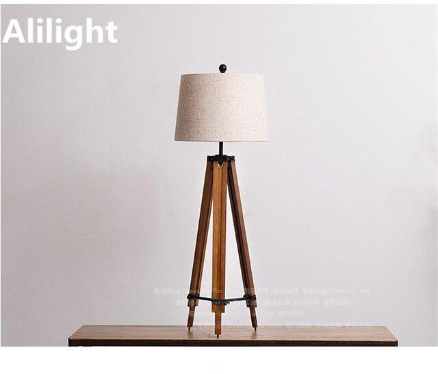 Moderne Grenen Beugel Stof Schaduw E27 Vloerlamp Hout Floor Licht ...