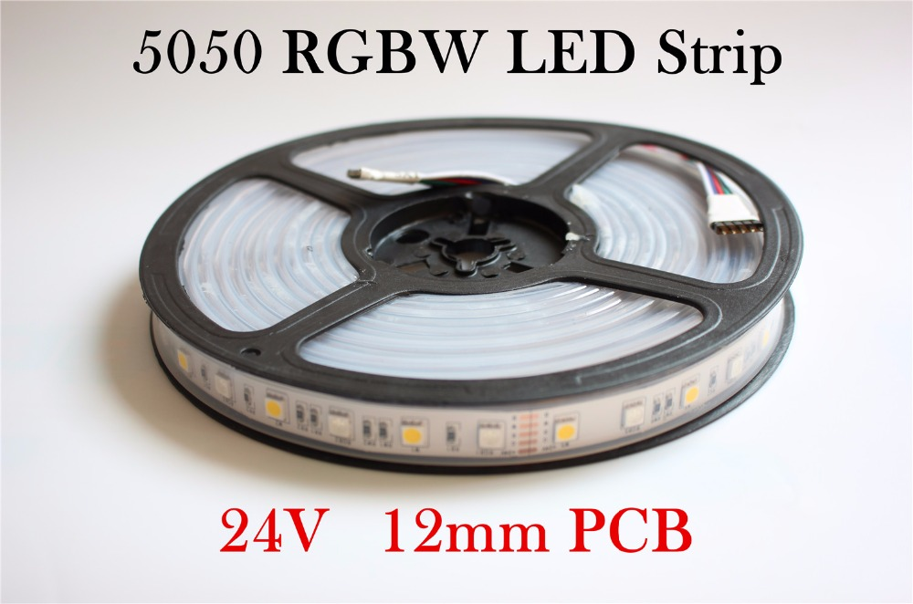 Waterproof IP67 12mm PCB DC24V LED Strip Light tape 5050 RGBW 60 LED/m RGB+W/ RGB+WW Flexible LED Light 5m/lot