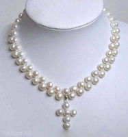 FREE SHIPPING>>@> HOTGenuine White Flat Pearl 18KWGP Cross Pendant Necklace NEW