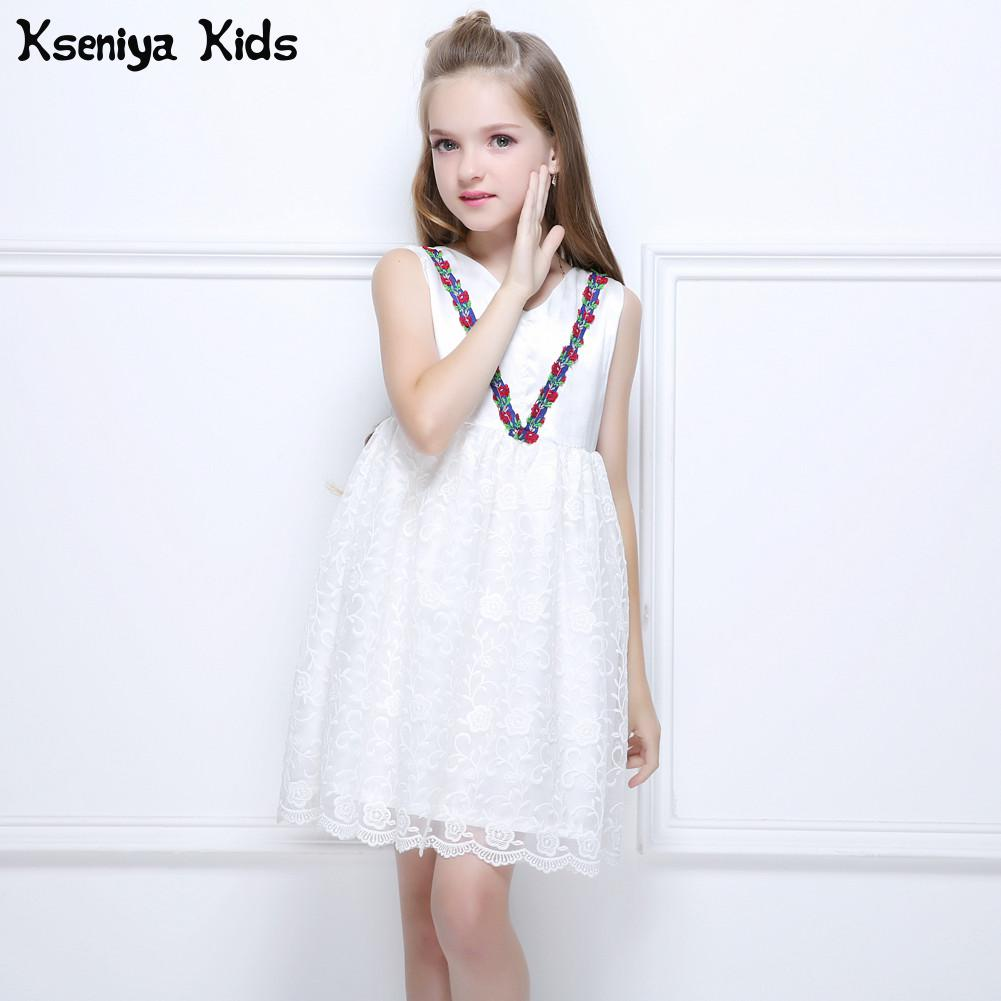 Kseniya Kids 2017 New Summer Girls White Wedding Princess Dress Baby Girl Lace Party Flower Ball Gown Infant Dresses 2-14 Y new fashion embroidery flower big girls princess dress summer kids dresses for wedding and party baby girl lace dress cute bow